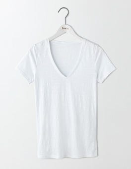 White Lightweight V-neck