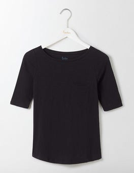 Black Lightweight Boat Neck