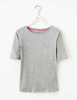 Grey Marl Lightweight Boatneck Tee