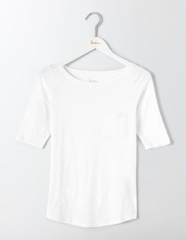 White Lightweight Boat Neck