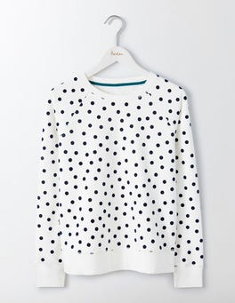 Ivory Jersey Scattered Spot Statement Sweatshirt