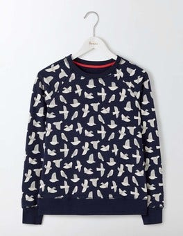 Navy Etched Bird Statement Sweatshirt
