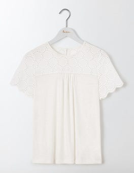 Ivory Eugenie Broderie Jersey Top
