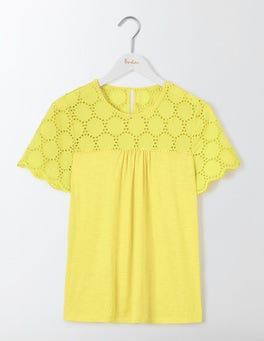 Pineapple Eugenie Broderie Jersey Top