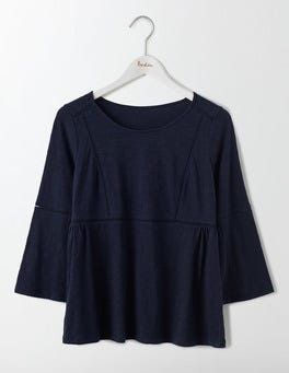 Navy Blanche Ladder Trim Top