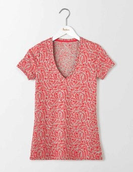 Lightweight Printed V-neck