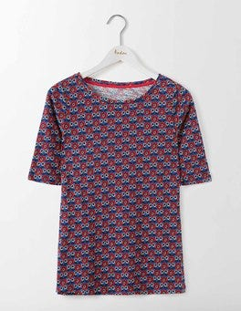 Meadow Spring Maritime Ditsy Lightweight Printed Boatneck