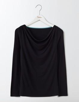 Black Kitty Cowl Neck Top
