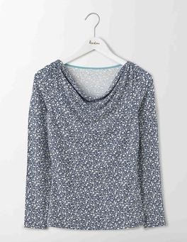 Blues Geo Bud Kitty Cowl Neck Top