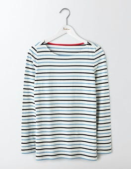 Delphinium Blue Multi Stripe Long Sleeve Breton
