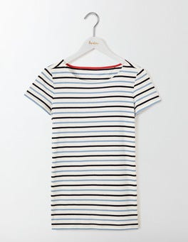 Whitewash Blue Multi Stripe Short Sleeve Breton