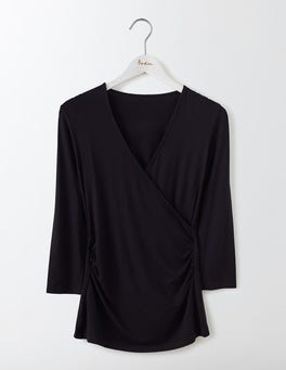 Black Wrap Jersey Top