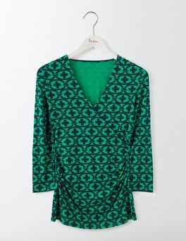 Meadow Green Linked Floral Wrap Jersey Top