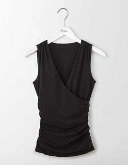 Black Crossover Ruched Top
