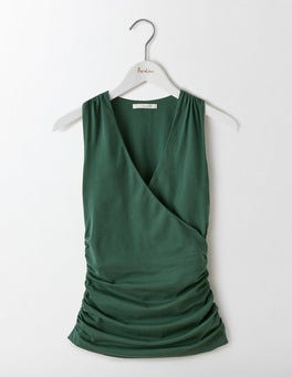 Beetle Green Crossover Ruched Top
