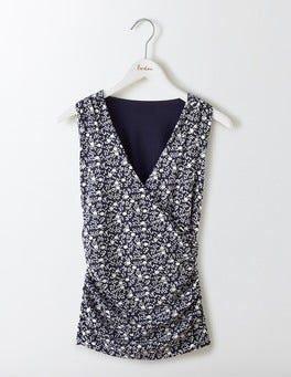 Navy/Ivory Geo Bud Crossover Ruched Top