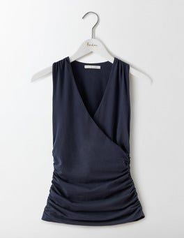 Navy Crossover Ruched Top