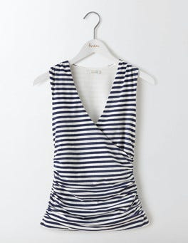 Navy/Ivory Stripe Crossover Ruched Top