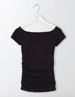 Black Off Shoulder Ruched Top