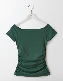 Beetle Green Off Shoulder Ruched Top