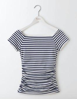 Navy/Ivory Stripe Off Shoulder Ruched Top