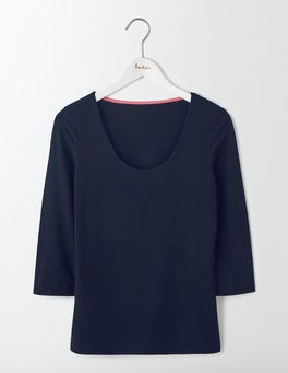 Navy Double Layer Front Tee