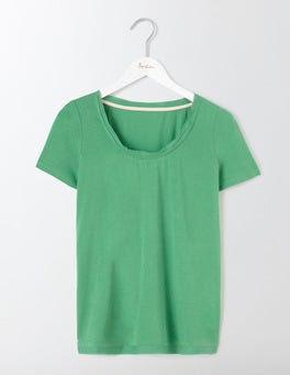 Wasabi Green Rapallo Woven Trim Top