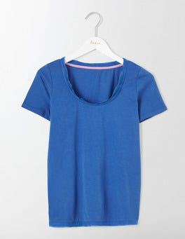 Santorini Blue Rapallo Woven Trim Top