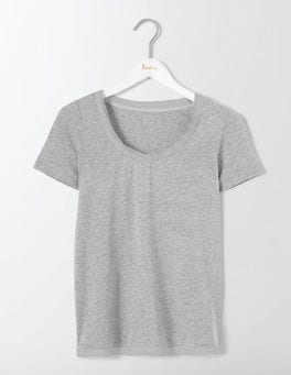 Grey Marl Rapallo Woven Trim Top