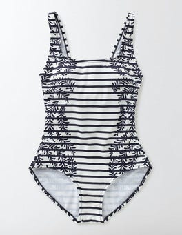 Navy Floral Vine Stripe Monaco Swimsuit