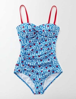 China Blue Floral Vine Pop Amalfi Bandeau Swimsuit