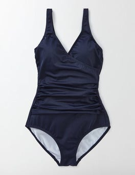 Navy Wrap Front Swimsuit