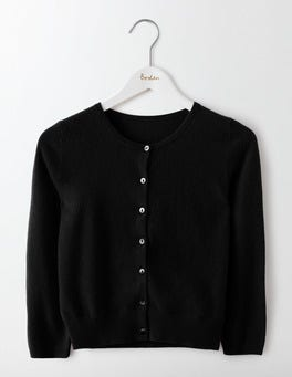 Black Cashmere Crop Cardigan