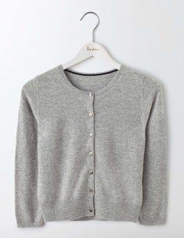 Grey Melange Cashmere Crop Cardigan