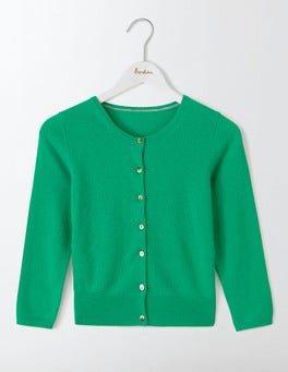 Meadow Green Cashmere Crop Cardigan
