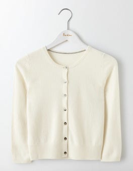 Ivory Cashmere Crop Cardigan