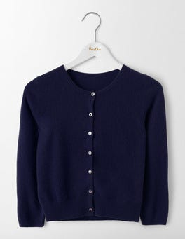 Navy Cashmere Crop Cardigan