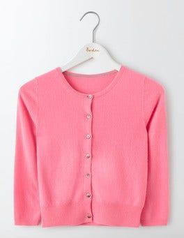 Pink Fizz Cashmere Crop Crew Cardigan