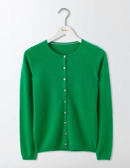 Meadow Green Cashmere Crew Cardigan