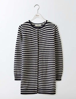 Ivory/Navy Stripe Helena Long Line Cardigan
