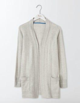 Silver Melange Cashmere Long Line Cardigan