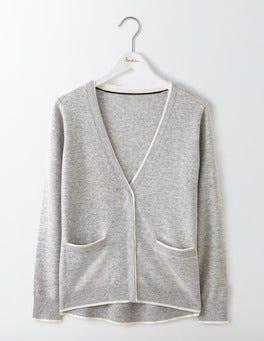 Grey Melange/Ivory Cara Trim Detail Cardigan