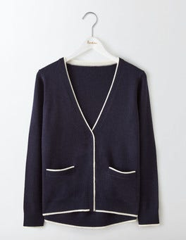 Navy/Ivory Cara Trim Detail Cardigan