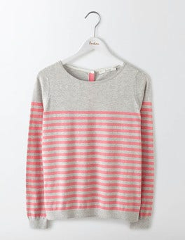 Grey Melange/Pink Fizz Stripe Tresco Stripe Jumper
