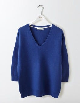 Santorini Blue Clare V-Neck Sweater