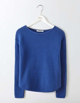 Santorini Blue Sera Boat Neck Sweater