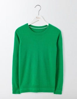 Meadow Green Cashmere Crew Neck Jumper