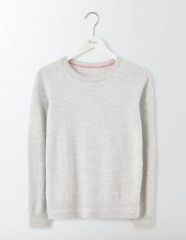 Silver Melange Cashmere Crew Neck Sweater