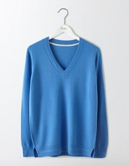 Forget-Me-Not Cashmere Relaxed V-Neck Jumper