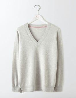 Silver Melange Cashmere Relaxed V-Neck Jumper